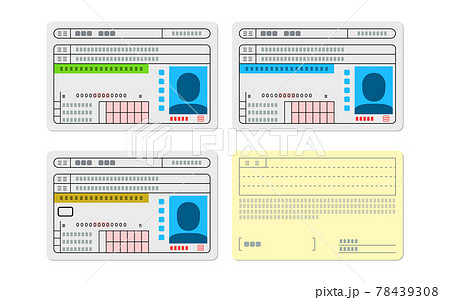 3種類の免許証のイラストと裏面 78439308