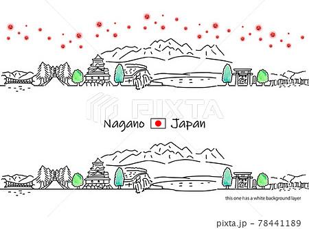 長野県の街並みと新型コロナウイルスのシンプル線画セット 78441189