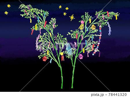 たなばたの笹飾りと短冊、星の水彩イラスト背景つき 78441320
