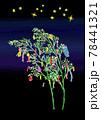 たなばたの笹飾りと短冊、星の水彩イラスト背景つき 78441321
