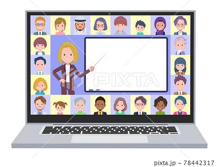 オンラインで授業を教えている金髪ビジネス女性のセット 78442317