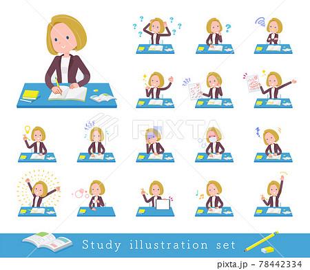 勉強に関する金髪ビジネス女性のセット 78442334