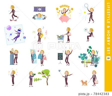 趣味とライフスタイルに関する金髪ビジネス女性のセット。Bタイプ 78442383