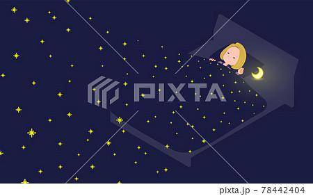 星空の中で寝ている金髪ビジネス女性のセット 78442404