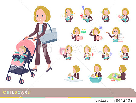 赤ちゃんのお世話をする金髪ビジネス女性のセット 78442408