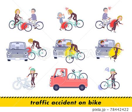 自転車事故に遭う金髪ビジネス女性のセット 78442422