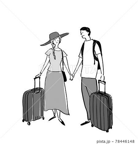 スーツケース、キャリーバグ、を持ったカップル、夫婦、男女(半袖) 78446148