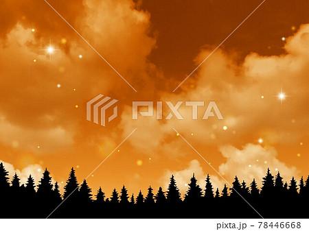 夜空の背景と木のシルエット 78446668
