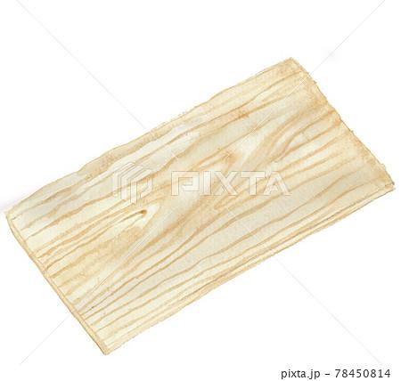 水彩イラスト:ヒノキまな板 道具 キッチンツール 白バック PNG  78450814