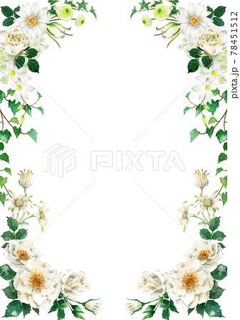 アナログ水彩白い花のデザインフレーム 78451512