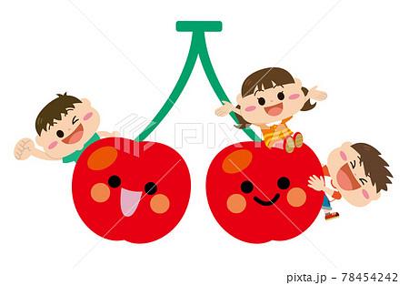 果物/さくらんぼと子どもたち 78454242