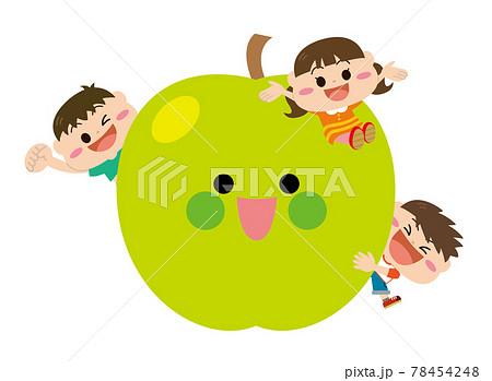 果物/青リンゴと子どもたち 78454248