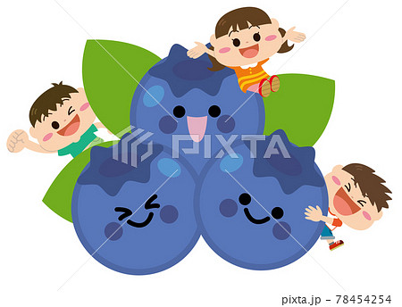 果物/ブルーベリーと子どもたち 78454254
