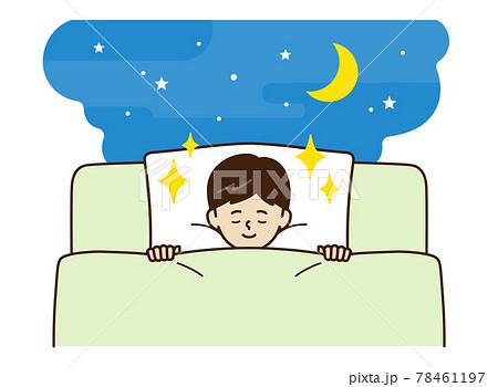 布団で寝る少年 78461197