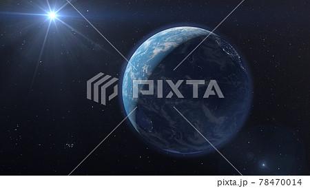 地球CG 太陽の光 perming3DCG イラスト素材 78470014