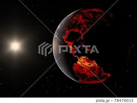 地球CG ネガティブイメージ perming3DCG イラスト素材 78470015