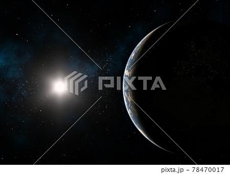 地球CG 太陽 夜明け perming3DCG イラスト素材 78470017