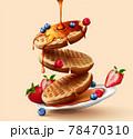 Toaster waffles in 3d illustration 78470310