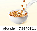 Ring cereals with pouring milk 78470311