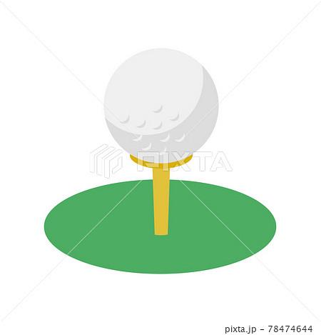 ゴルフのアイコン。芝生の上のティーとゴルフボールのイラスト。 78474644