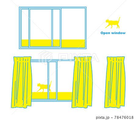 開いている窓のイラスト素材 ベクター シンプル 猫シルエット付き 78476018