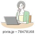 PCの操作に困っているシニアの女性 78478168