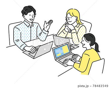 プレゼン、ミーティング、ビジネスシーンイラスト(説明、マーケティング、打ち合わせ、戦略、情報交換) 78483549