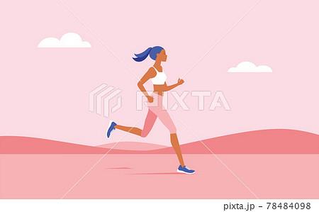 イラスト素材 ランニング・ジョギングをする女性 78484098