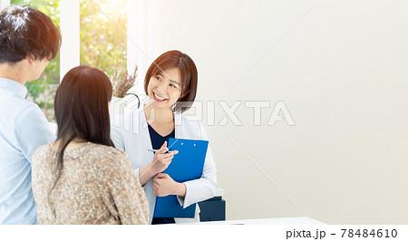カップルに部屋を案内する女性担当者 モデルハウス ハウスメーカー 部屋探し 78484610