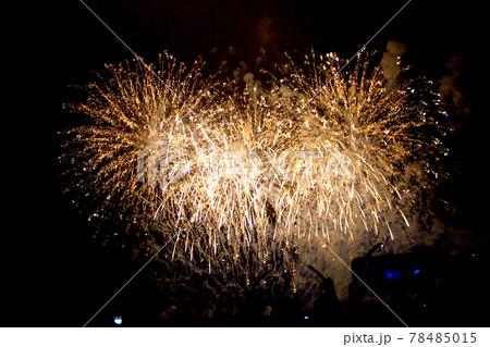 【静岡】熱海 砂浜から眺める空いっぱいの花火とたくさんの見物客のシルエット 78485015