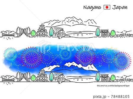 長野県の街並みと花火のシンプル線画セット 78488105