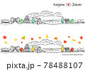 秋の長野県の街並みのシンプル線画セット 78488107