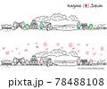 春の長野県の街並みのシンプル線画セット 78488108
