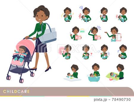 赤ちゃんのお世話をする黒人ビジネス女性のセット 78490730