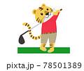 ゴルフのスイングをするトラ 78501389