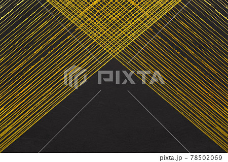 黒い筋入り和紙テクスチャと金箔のグランジアートの背景素材 78502069