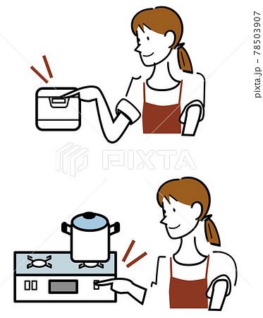 今日の献立を作る主婦-炊飯器もコンロもボタン1つで動いて便利 78503907