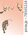 2022年 寅年 年賀状 梅と虎のイラスト 78505228