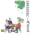 カフェでお茶を飲むシニアの男女のイラスト a4 縦構図 78505983
