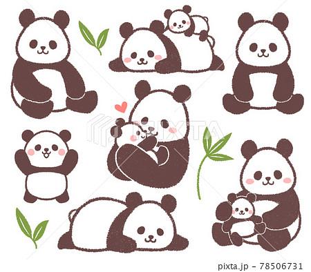 パンダとパンダ親子のセット 78506731