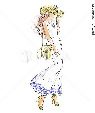 リゾートワンピと麦わら帽子のサマーファッションコーディネート 78508239