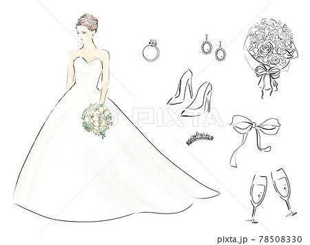 ウェディングドレスの女性とブライダル関連の小物イラスト 78508330