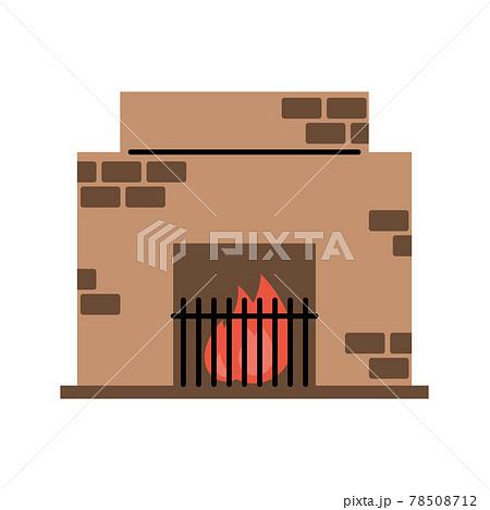 暖炉 シンプル・ペン画風イラスト 78508712