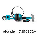 Top view of green construction tools for repair and installation on white 78508720