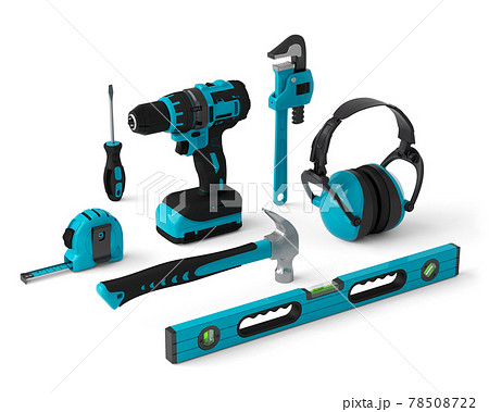 Isometric view of green construction tools for repair on white 78508722