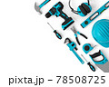 Top view of green construction tools for repair and installation on white 78508725