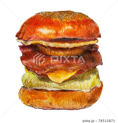 ハンバーガー 色鉛筆 イラスト 78513871