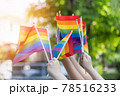 LGBT pride or LGBTQ+ gay pride with rainbow flag for lesbian, gay, bisexual, and transgender people human rights social equality movements in June month 78516233