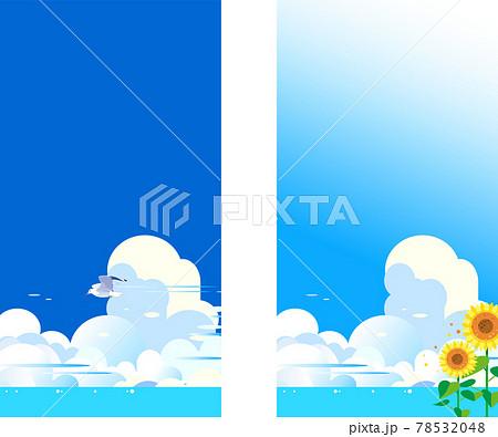 青空にカモメとヒマワリの夏の背景イラスト 78532048