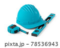 Isometric view of green construction tools for repair on white 78536943